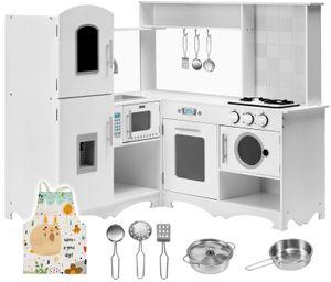 XXXL Holz-Eckküche mit Kühlschrank, Backofen, Waschmaschine, Schürze und Zubehör