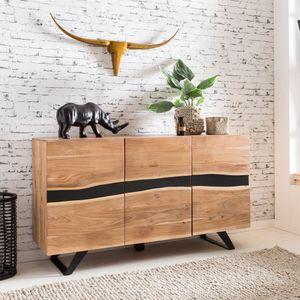 WOHNLING Sideboard 148 x 85 x 43 cm Massiv-Holz Akazie Natur Baumkante Anrichte | Landhaus-Stil Highboard mit 3 Türen | Flur Schrank Kommode