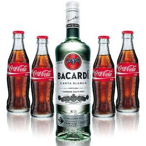 Cuba Libre Set - Bacardi Carta Blanca Rum 0,7l 700ml (37,5% Vol) + 4x Coca Cola 0,2L - Inkl. Pfand MEHRWEG
