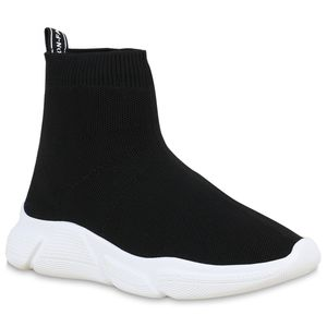 Mytrendshoe Damen Sportschuhe Slip Ons Strick Sockenschuhe Fitness Sneaker 830008, Farbe: Schwarz, Größe: 39