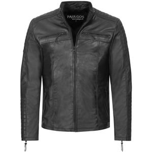 PAULGOS Herren Lederjacke Echtes Leder Jacke Echtleder Übergangsjacke Fashion in 5 Farben Gr. S-7XL Design 1, Farbe:Schwarz, Größe:6XL