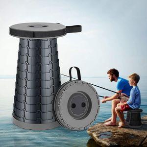 NightyNine Teleskop-Klapphocker Tragbare Leichte - Schwarz für Kinder Erwachsene Tragbarer Klapphocker Wandern Angeln BBQ und Drinnen Küche Nutzen hält bis zu 180kg