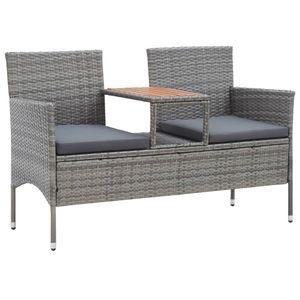vidaXL 2-Sitzer-Gartenbank mit Teetisch 143 cm Poly Rattan Grau