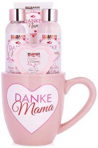 BRUBAKER Cosmetics - Danke Mama - 5-teiliges Muttertags Bade- und Dusch Set - Rosen Vanille Duft - Geschenkset in Becher Tasse mit Herz Dekor