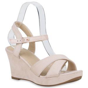 Mytrendshoe Damen Sandaletten Keilsandaletten Plateau Keilabsatz Schuhe 830355, Farbe: Creme, Größe: 38