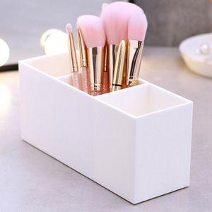 1 Stück Make-up Pinsel Set Organizer Case Weiß 19,9x6,9x8,8 cm 3 gitter Fall Pinsel Halter