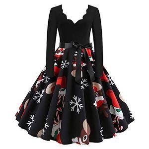 (Größe: XXL,schwarz)Vintage V-Ausschnitt Weihnachten Kleid Vintage Cocktailkleid Retro Ausgestelltes Schwingen Kleid Faltenrock Abend Brautkleid Damen
