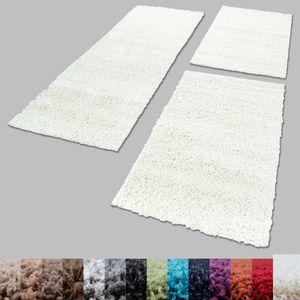 Bettumrandung Shaggy Teppich Läuferset 3 teilig Hochflor Einfarbig Langflor, Farbe:Creme, Bettset:2 mal 80x150 + 1 mal 80x250