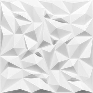 |8qm-32 Stück| 3D Wandpaneele Wandverkleidung Deckenpaneele Platten Paneele XPS Amethyst Weiß 50x50 cm