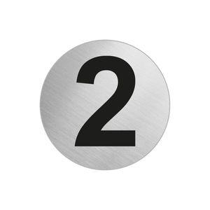 "Türnummer Zimmernummer aus Edelstahl ""2"" Ø 60 mm selbstklebend"