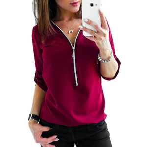 Frühling Herbst Frauen lässig einfarbig langärmliges Hemd Reißverschluss lose Bluse