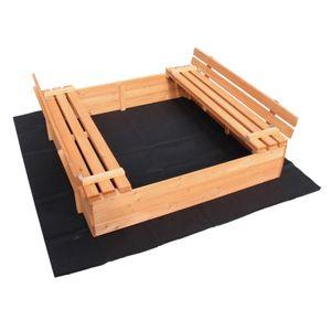 Sandkasten Deckel klappbar 2 Sitzbänke 980x980x200 mm Fichtenholz Vliesboden
