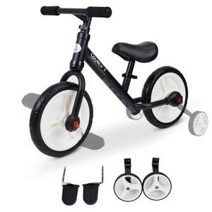 HOMCOM Kinder Laufrad, Lauflernrad, Kinderfahrrad, 2-in-1, Kinderrad mit Stützrädern und Pedalen, 2-5 Jahre, Sitzhöhenverstellbar, PP, Schwarz, 85 x B36 x H54 cm