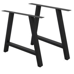 ECD Germany 2 Stück Tischbeine A-Design - 70 x 72 cm - aus pulverbeschichtetem Stahl - Schwarz - Industriedesign - Tischgestell Tischuntergestell Set Tischkufen Tischfüße