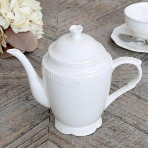 Kaffeekanne PROVENCE aus Porzellan Kanne weiß im Landhausstil shabby chic antik