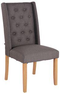 CLP Esszimmerstuhl Malea Stoff mit Sitzpolster und Holzbeinen Gestell, Farbe:dunkelgrau, Gestell Farbe:Antik-hell