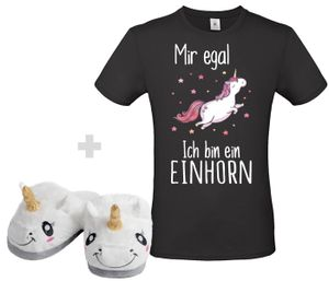 Einhorn Set T Shirt Schwarz , Größe wählen:3XL, Schuhgröße wählen:38/39