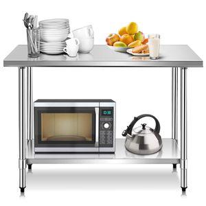 COSTWAY Edelstahl Kuechentisch Arbeitstisch Gastro Tisch Edelstahltisch Zubereitungstisch mit Zwischenbord 122x61x90cm