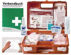 Verbandskoffer / Verbandskasten (K) Typ C - Erste Hilfe nach DIN 13157 für Betriebe -DSGVO- INKL. PERFORIERTEM VERBANDBUCH + Antisept-Hygiene-Spray