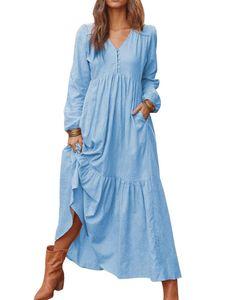 Damenknopfkleid aus Baumwolle und Leinen, lässig, langärmelig, großes Swing-Kleid,Farbe: Hellblau,Größe:M