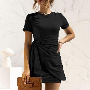 Mode Frauen einfarbiges Kleid O-Ausschnitt Kurzarm Bandage Casual Minikleid,Schwarz-XL