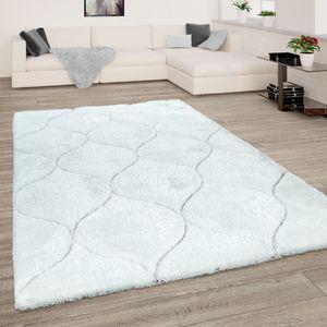 Hochflor Teppich Wohnzimmer Shaggy 3D Effekt Geometrisches Muster Modern Weiss, Grösse:160x220 cm