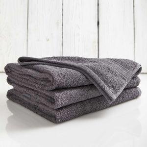 Lumaland Premium 3er Set Duschtücher Frottee 70 x 140 cm aus 100 % Baumwolle 500 g/m² mit Aufhänger grau