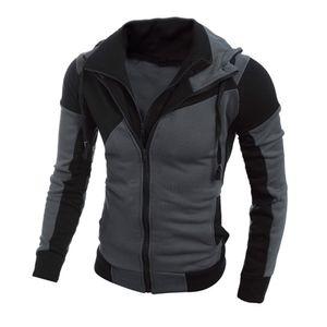 Männer Retro Langarm Hoodie Hooded Sweatshirt Tops Jacke Mantel Outwear HQL61118502 Größe:XL,Farbe:Schwarz