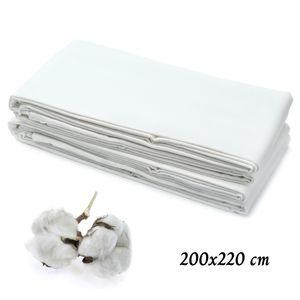 Hotel Bettlaken 200x220 cm ohne Gummizug 100% Baumwolle Betttuch ohne Gummi Laken zum zudecken weiß 125 g/m²