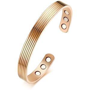 Mllaid  Gold plattiert Kupfer magnetische Armband Therapie Arthritis Heilung 6 Magnete offene Manschette Armreif Armbänder
