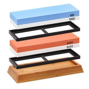 Schleifstein set, Premium-Schleifsteinset, 4 Seiten K?rnung 400/1000, 3000/8000 Wasserstein, Rutschfester Bambussockel und Winkelfš¹hrung