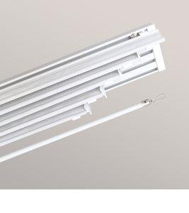 Lysel Outlet SET Schiebegardinenschiene mit Paneelwagen 5-läufig in Weiß, in der Größe (BxHxT) 250cm x 4,5cm x 8,4cm