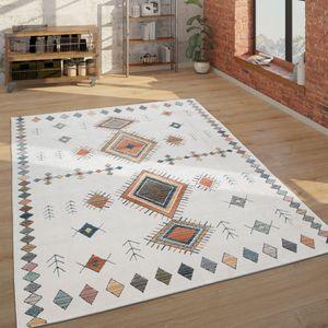 Teppich Wohnzimmer Geometrisches Ethno Muster Modern, Mehrfarbig Weiß Blau Rot, Grösse:160x230 cm