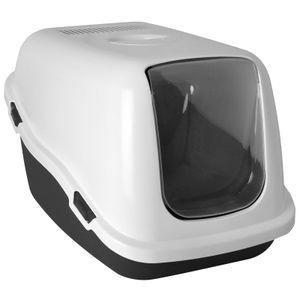XXL Katzentoilette mit Deckel Jumbo Katzenklo mit Filter große Öffnung weiß