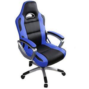 Gaming Stuhl Bürostuhl Schreibtischstuhl Drehstuhl Höhenverstellbarer Gaming Sessel PC Stuhl Ergonomisches Chefsessel Blau