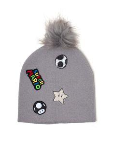 Nintendo Super Mario Bros. Mütze mit Bommel grau