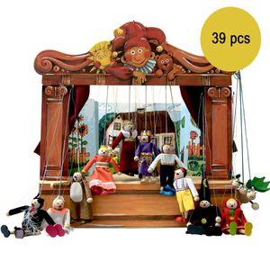 Historisches Holz Puppentheater Maxi mit 14 Puppen und 8 Bühnenbildern