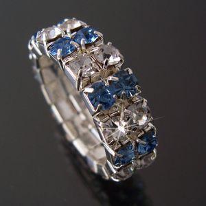 Ring Fingerring Bandring dehnbar silber Strass Blau-clear 2-reihig R49