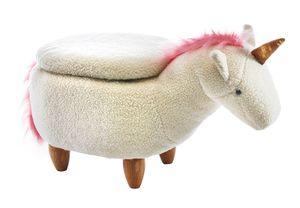Hocker Kinderhocker Tierhocker EINHORN mit Staufach weiß mit rosa Mähne