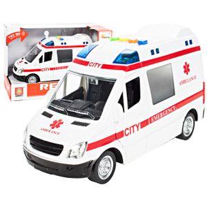 MalPlay Krankenwagen Spielzeug | 1:16 Mini Simulation | Krankenhaus Rettungswagen Notfallfahrzeug | mit Ton und Licht | ab 3 Jahren | Geschenk für Kinder