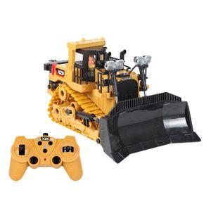 2,4 Ghz 9 Kanal Elektrische Radio Control Bulldozer Traktor 1/24 LED Licht & Sound Bau Engineering Auto Bagger Dump Spielzeug für Jungen Mädchen 2 Batterien Kunststoff