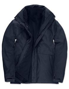B&C Herren Corporate 3-in-1 Marken Funktionsjacke - JU873, Größe:XL, Farbe:Navy Blau