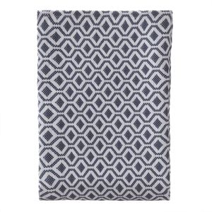 URBANARA 180x230 cm Tagesdecke/Plaid Viana Blaugrau/Weiß — 100% reine Baumwolle — Ideal als Bettüberwurf oder Kuscheldecke — im Diamantmuster — geeignet für Einzel- und Doppelbett