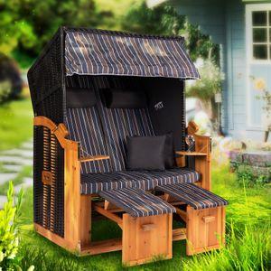 Strandkorb Ostsee XXL Volllieger 2 Sitzer - 120 cm breit - braun grau inklusive Schutzhülle, ideal für Garten und Terrasse