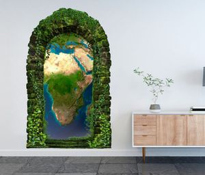 3D Wandtattoo Garten Tor Dschungel Karte Welt Erde Planet Weltkarte Landkarte Afrika map abstrakt Pflanzen Tür Gewölbe Wand Aufkleber Wandsticker 11FB573, Größe in cm:97cmx160cm