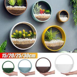 Runde Blumentopf Halter Hängende Wandvase Pflanzer Sukkulenten Wanddekor Set (Weiß,15cm)