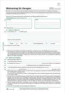Mietvertrag für Garagen, 4 Seiten, gefalzt auf DIN A4