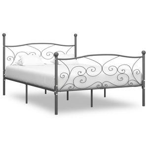 【Neu】Klassische Betten Bettgestell Grau Metall 200×200 cm BEST SELLER- Gesamtgröße:211 x 209 x 105 cm BEST SELLER-Möbel-Betten,Zubehör-Betten,Bettgestelle im Landhaus-Stil