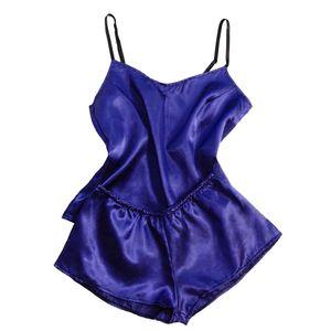 Satin Silk Pyjamas Bogen Nachthemd Dessous Frauen Unterwäsche Nachtwäsche Satin Größe:XXL,Farbe:Blau
