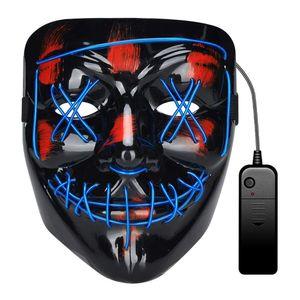Halloween Maske, LED Purge Maske im Dunkeln Leuchtend, Halloween Purge Maske 3 Beleuchtungsmodi für Kostümspiele Cosplays Feste und Partys - Blau